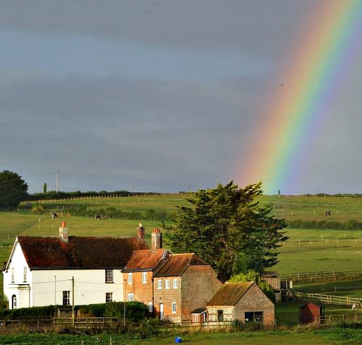 Stunning Rainbow over the Farmhouse