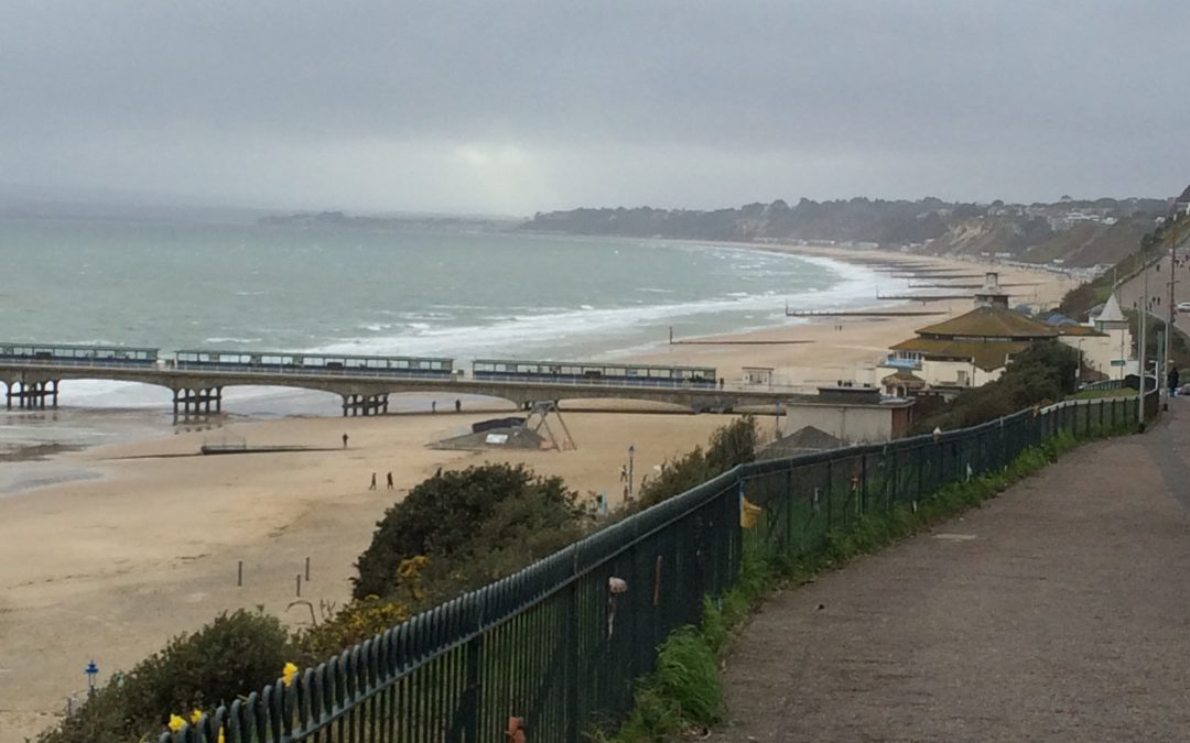 overlooking bournemouth beach on bleak january day